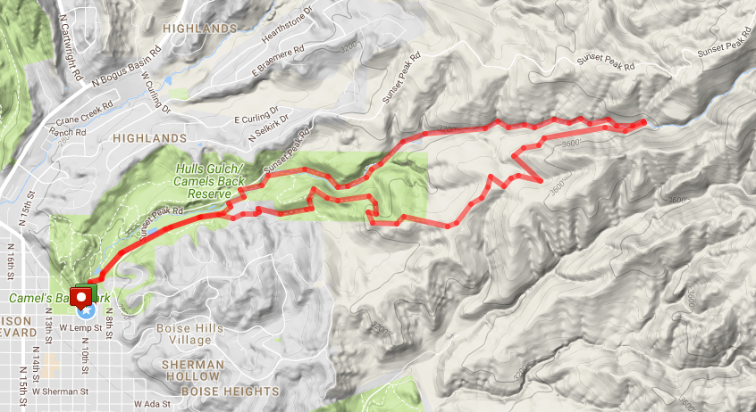 Hulls Gulch route map