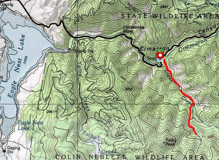 Clear Creek Hike route