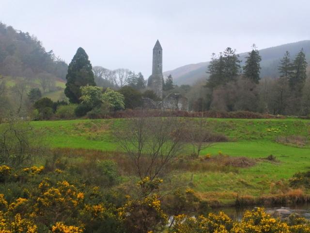 monastery ruins at Glendolough