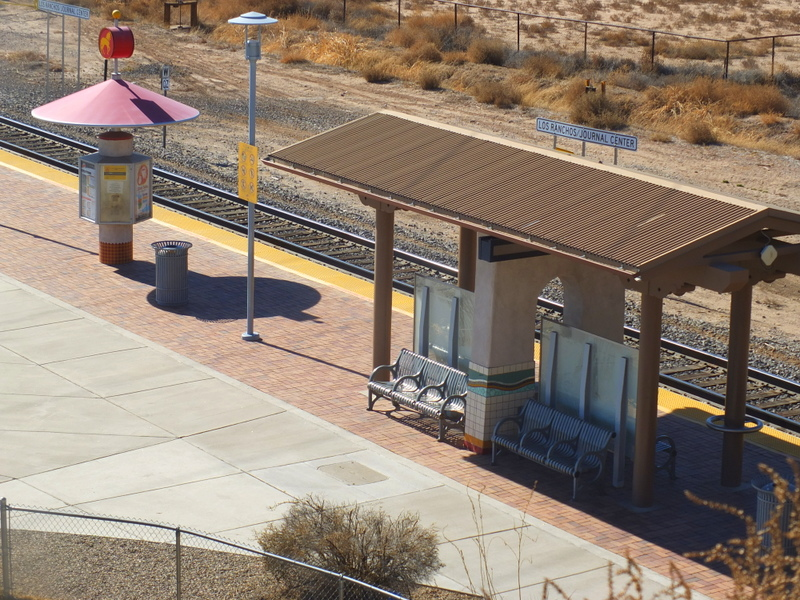 Journal Center Railrunner station on Paseo del Norte Trail