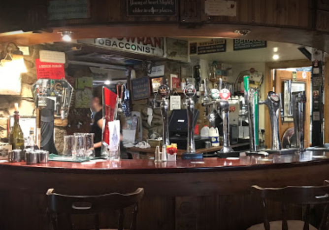 The bar at Glenmalure Lodge