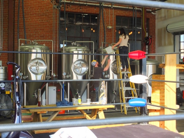 Sigma Brewing Company brewhouse - wrestling rink in foreground