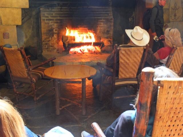 warming up at Lake McDonald Lodge