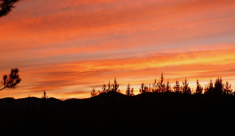 sunset at Polebridge