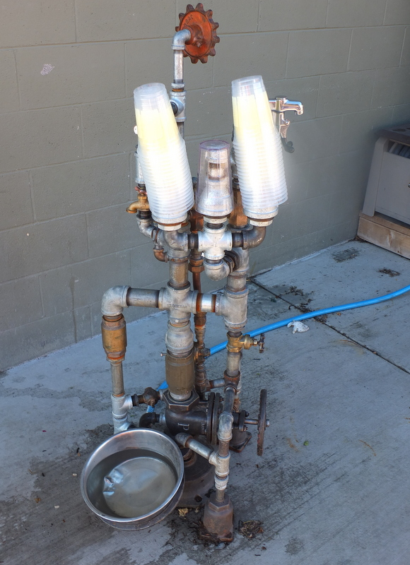 Rube Goldberg memorial watering station