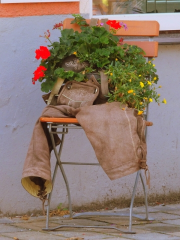 unique flower pot from lederhosen