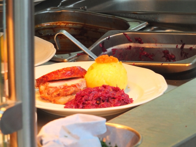 plating it up with red cabbage and a knödel