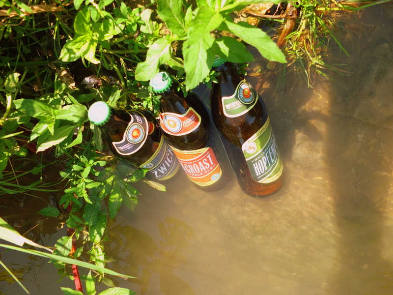 cooling Urban Chestnut brews in the creek
