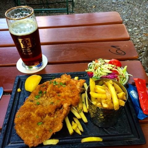 beer and a schnitzel