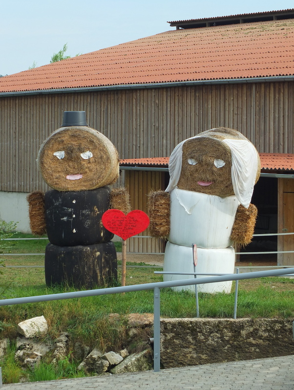 hay sculpture celebrating a marriage