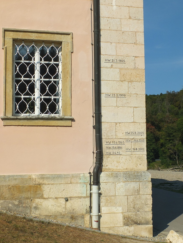 high water marks at Kloster Weltenberg for various floods