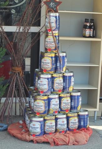 many-mini-kegs on display