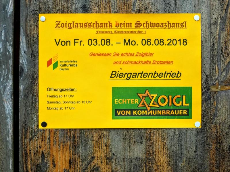 notice for upcoming opening at Schwoazhansl Zoiglstube