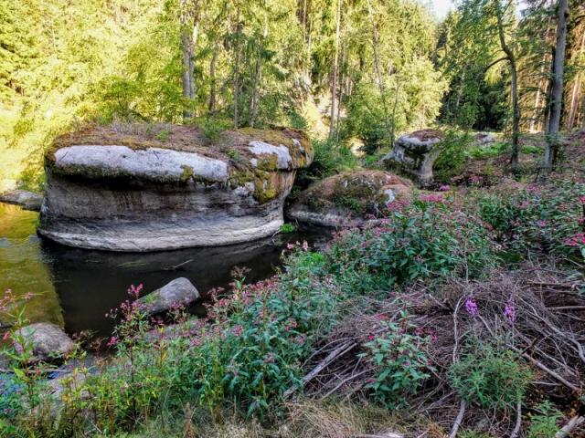 granite knob in river