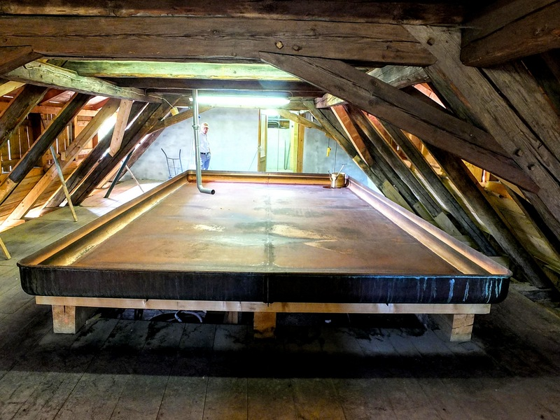 """vintage open-air copper cooling """"ship"""" in the attic holds about 2500 liters"""