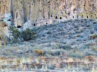 Bandelier cliff dwellings before sunrise