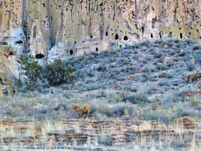 Bandelier cliff dwellings before sunrise