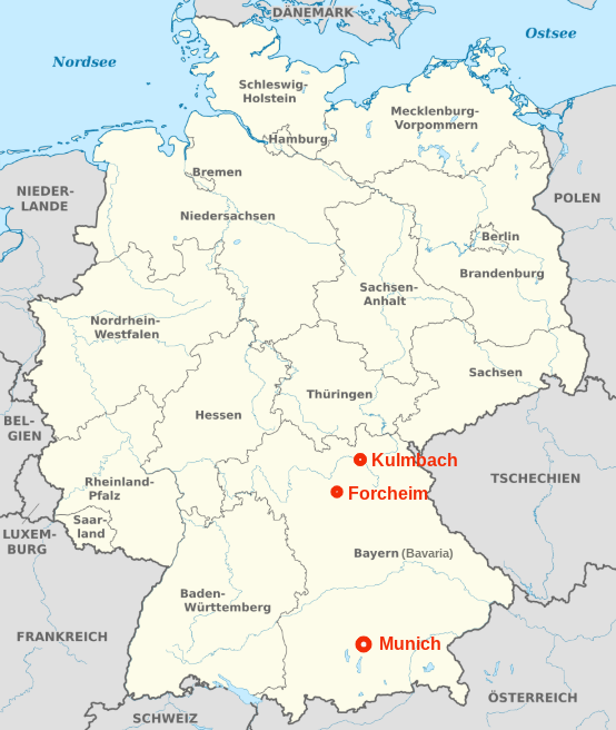 Location of Forcheim & Kulmbach in Germany & Bavaria