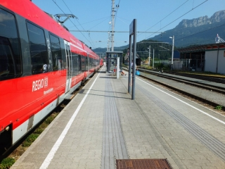 waiting for the train in Reutte, Austria