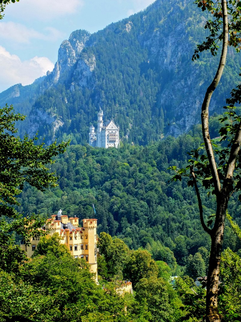 Neuschwanstein Castle viewed from the trail above Schloss Hohenschwangau
