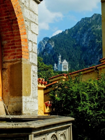 Neuschwanstein Castle viewed from Schloss Hohenschwangau