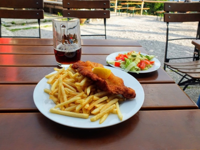 dinner and a beer at Tegelberghaus