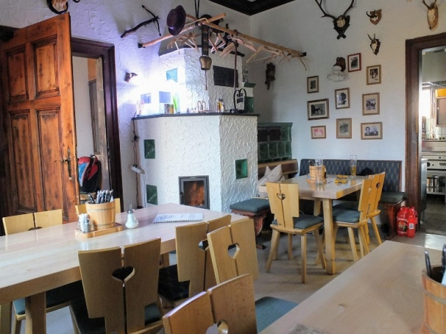 wood stove in canteen room