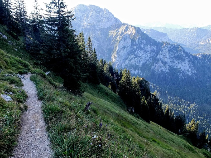 crossing a steep slope