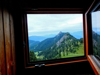 view from the bunk at August Schuster Hut