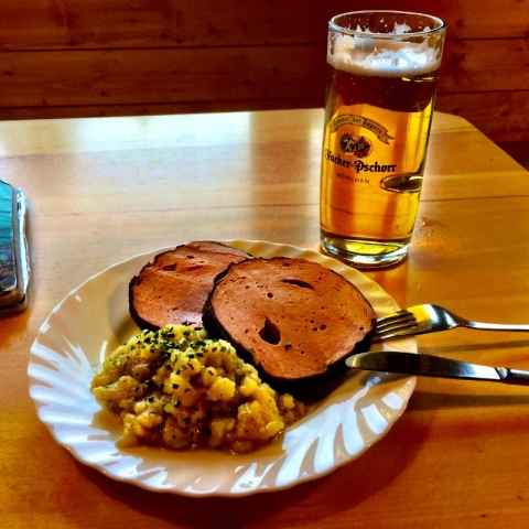 dinner and a beer at August Schuster Hut