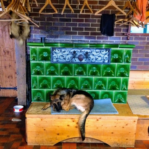 hut mut by the wood stove