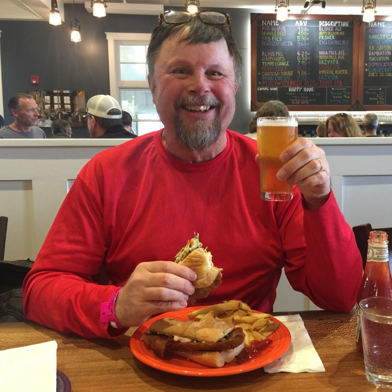 Schnitzel sandwich with a Pliny the Younger at RRBC