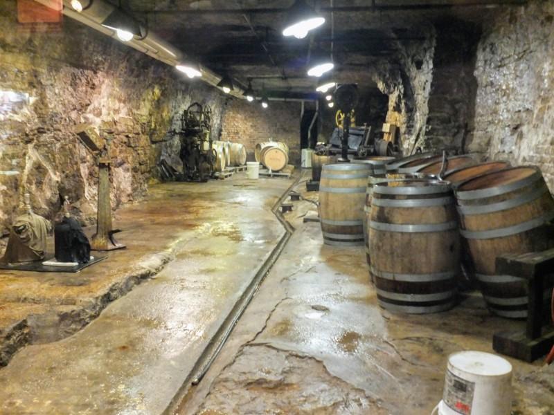 beer cellar display in museum