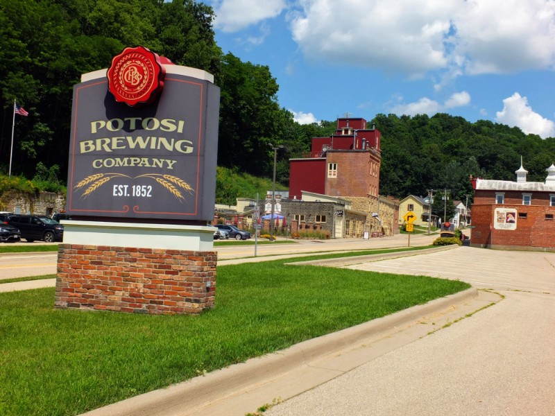 Sign in front of current brewery building