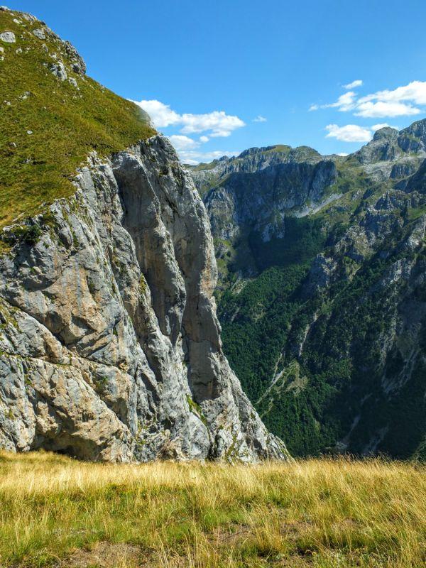 steep drop on the Albanian side of the ridge