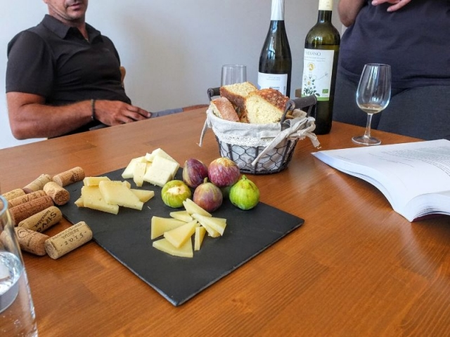 Cheese, figs, and bread for tasting