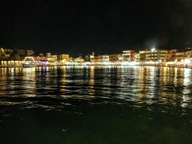 harbor front at night