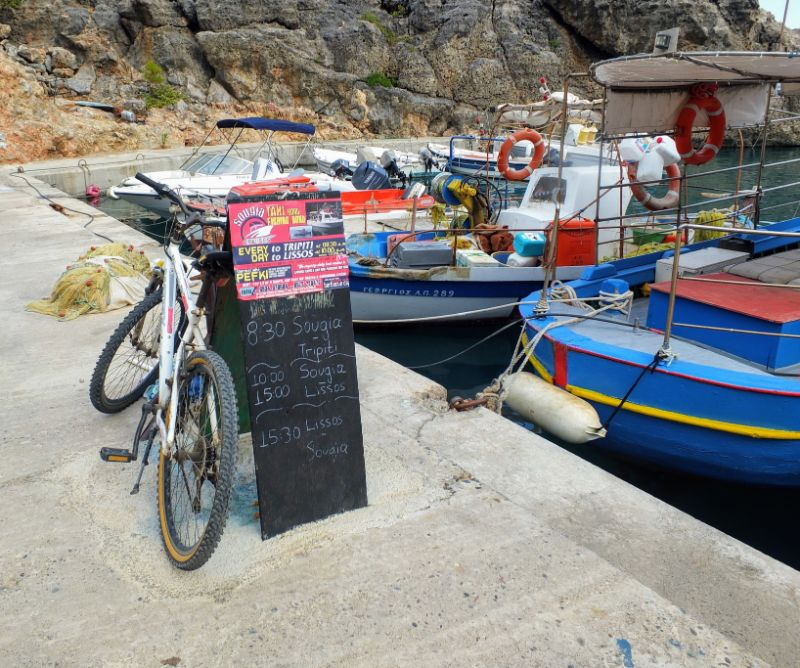 water taxi stand at Sougia