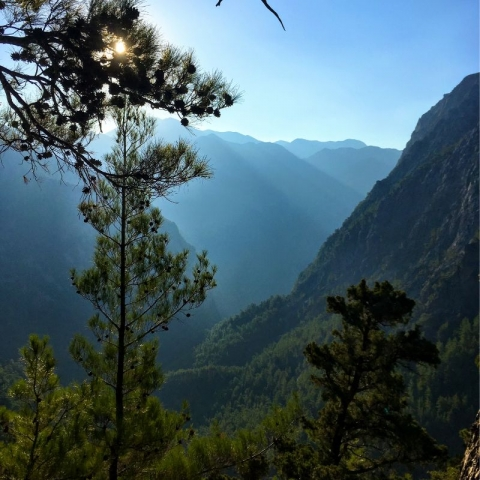 view down the Samaria Gorge