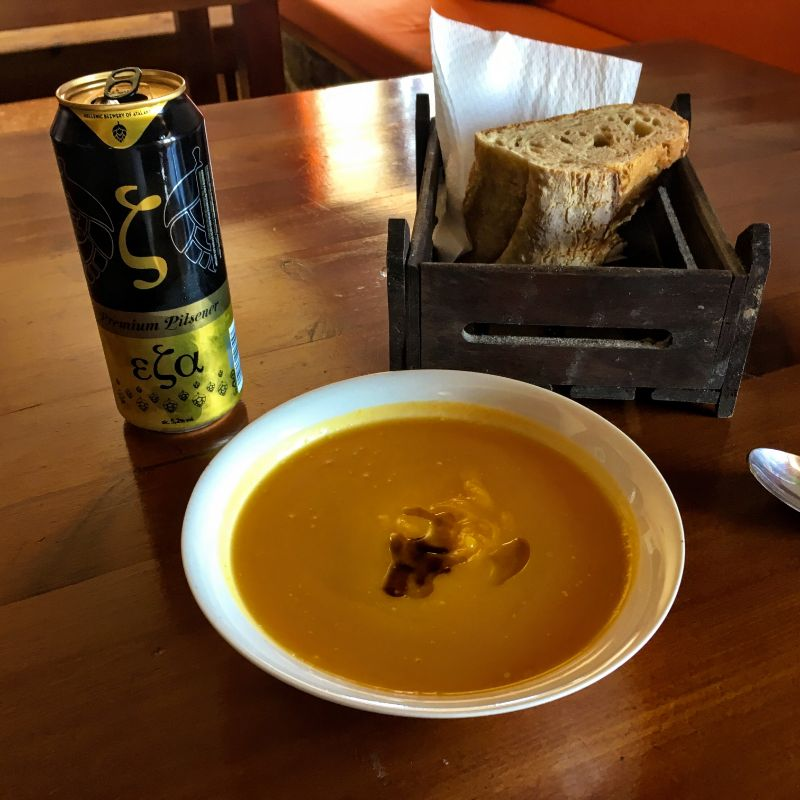 hearty soup with a beer at Kallergis Refuge (sadly, they were out of Lafkas beer)