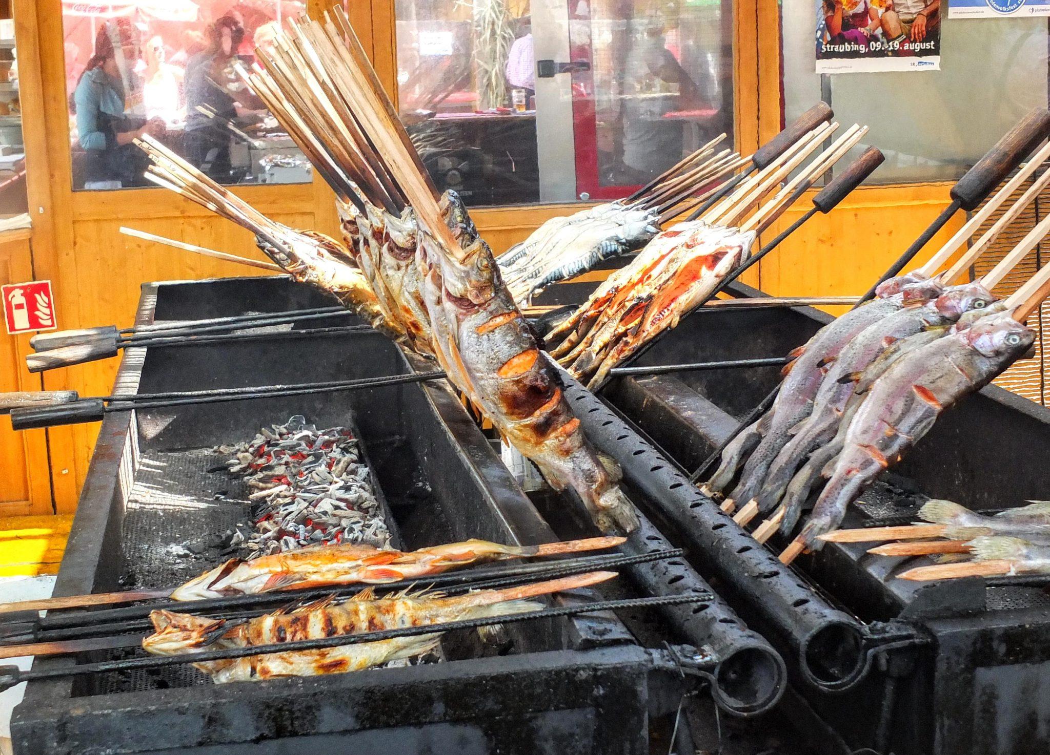 Steckerlfisch grilling