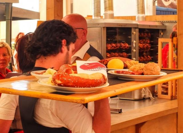big trays of food