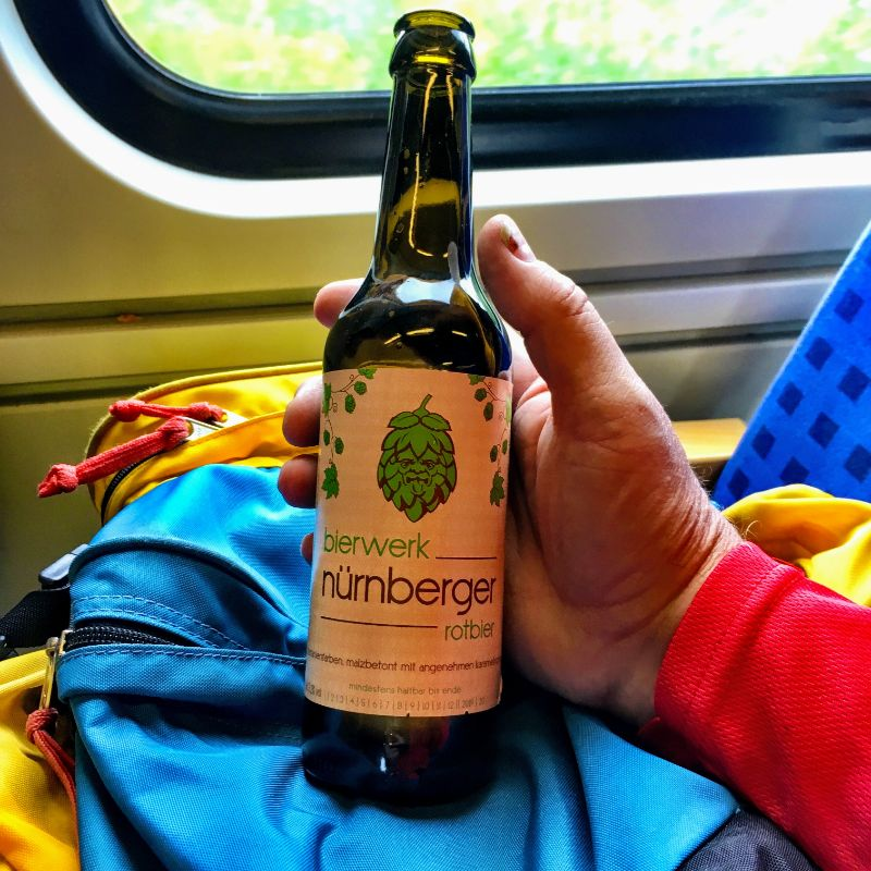 rotbier with lunch on the train