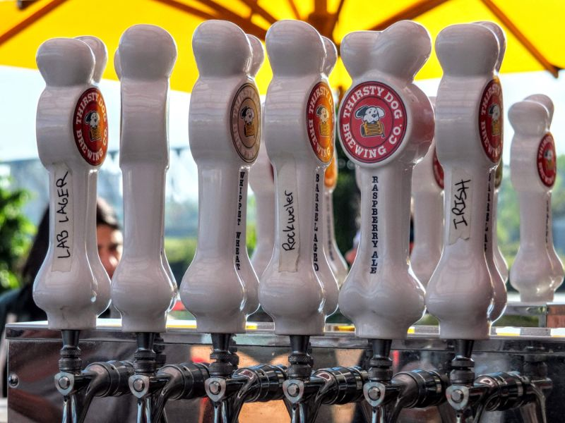 Thirsty Dog Brewery tap handles