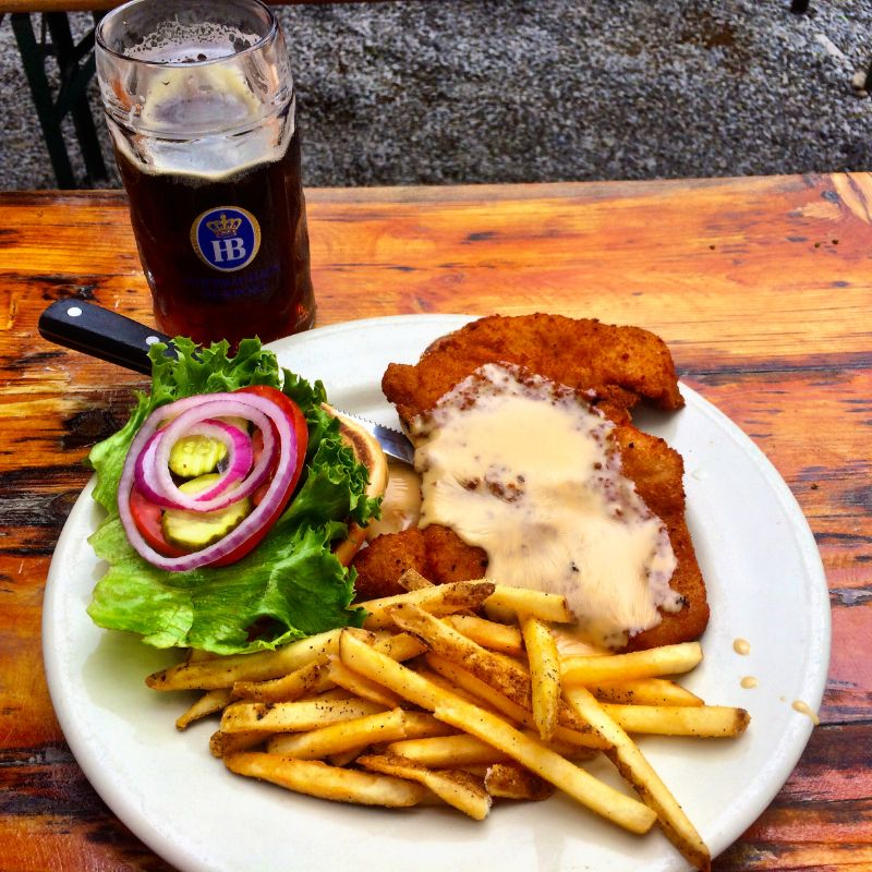 schnitzel sandwich lunch