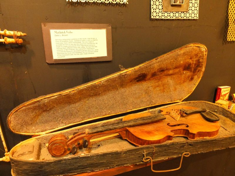violin made by a convict from matchsticks (he had the time I guess)