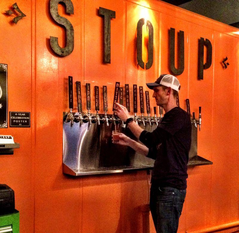 pulling beer