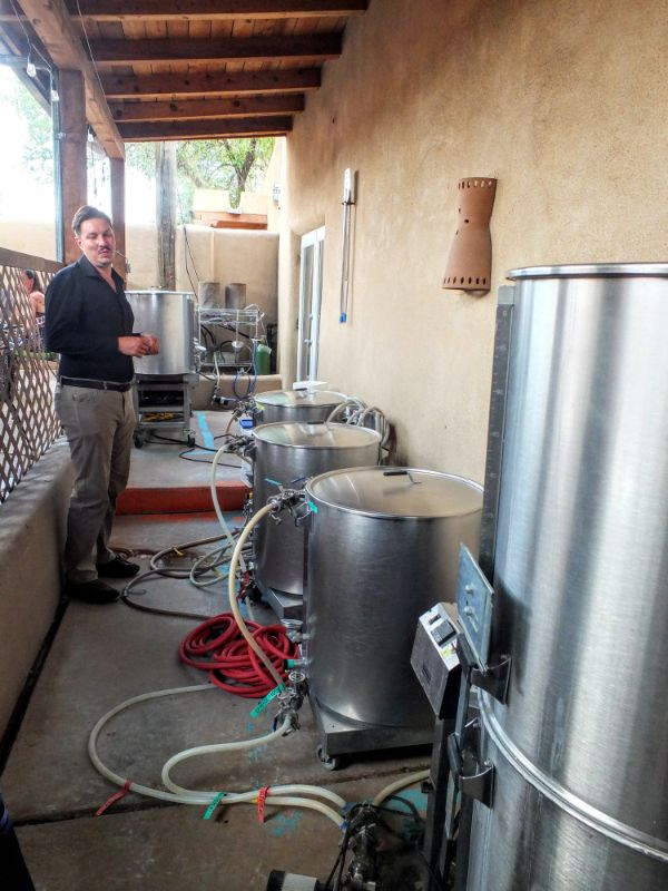 The Chile Line brewhouse is outdoors under a portal