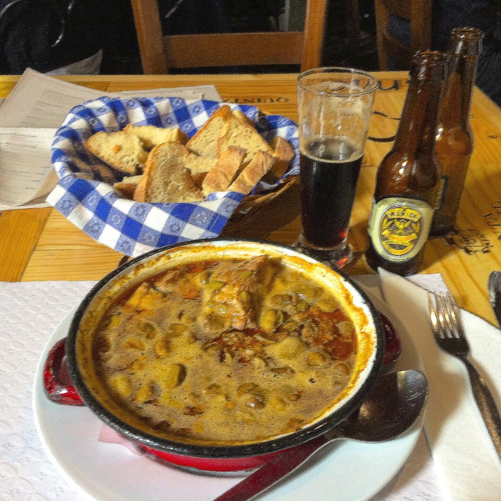 Fava bean stew with a dark beer - great match