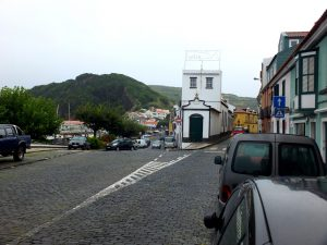 in the town of Horta with Monte Queimado in the background